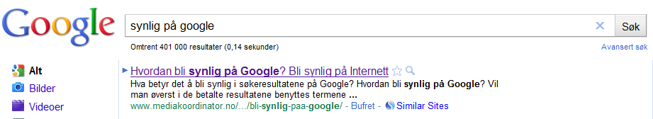 Synlig p Google
