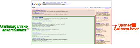 øverste søkeresultater på Google
