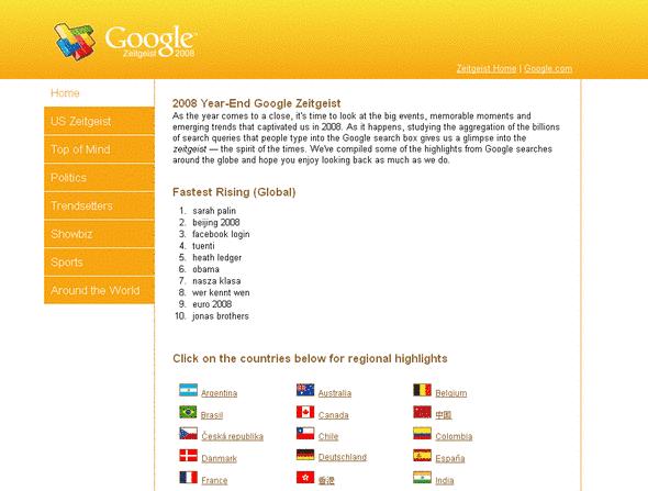 Google Zeitgeist 2008 - mest søkt på google i 2008